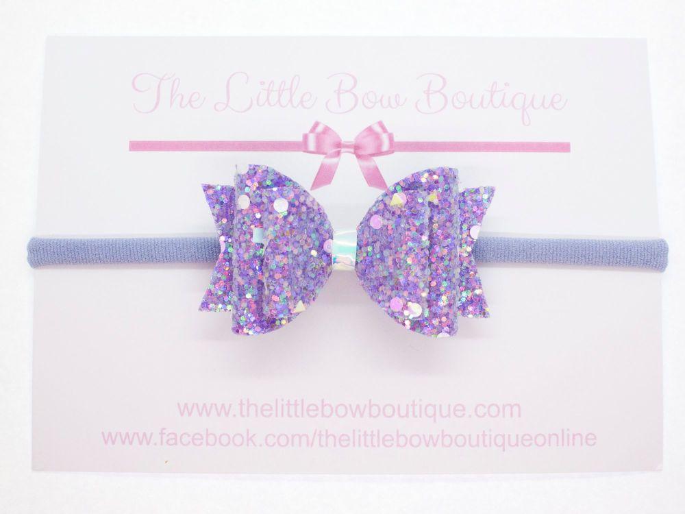 Crystal Sparkles Glitter Bow Unicorn Purple Headband