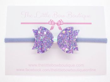 Crystal Sparkles Glitter Bow Unicorn Purple Headband