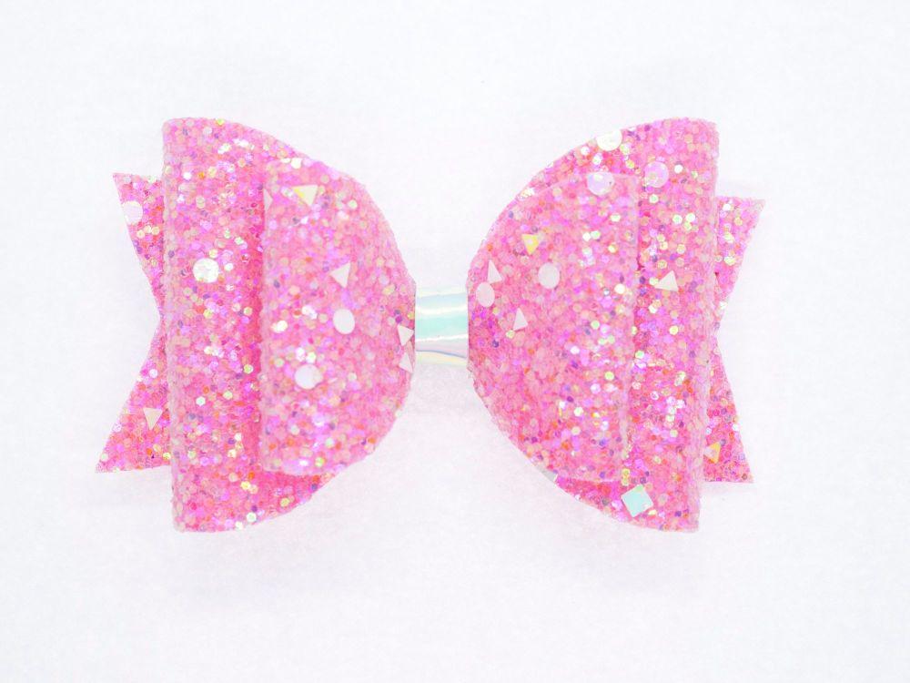Crystal Sparkles Glitter Bow Unicorn Pink