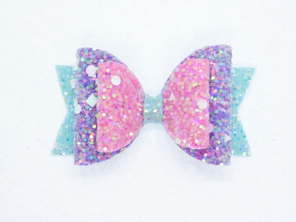 Crystal Sparkles Glitter Bow Unicorn Dreams Small Bow
