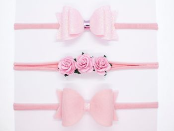 Beautiful Baby Pink Set of 3 Headbands