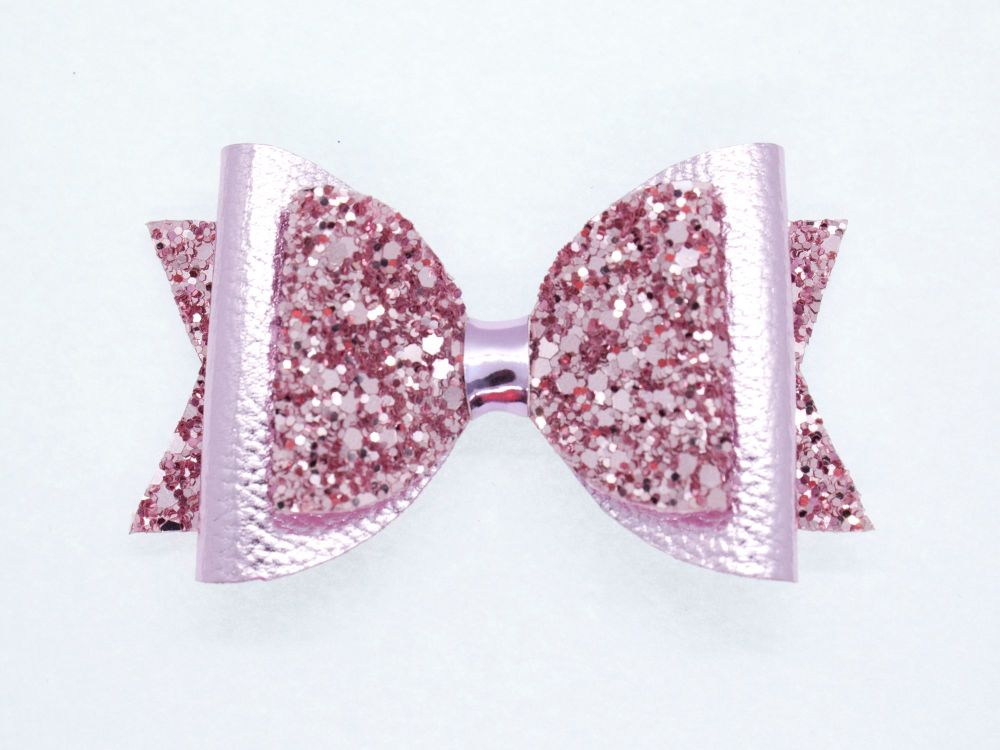 Gorgeous Rose Pink Metallic Sparkle Bow