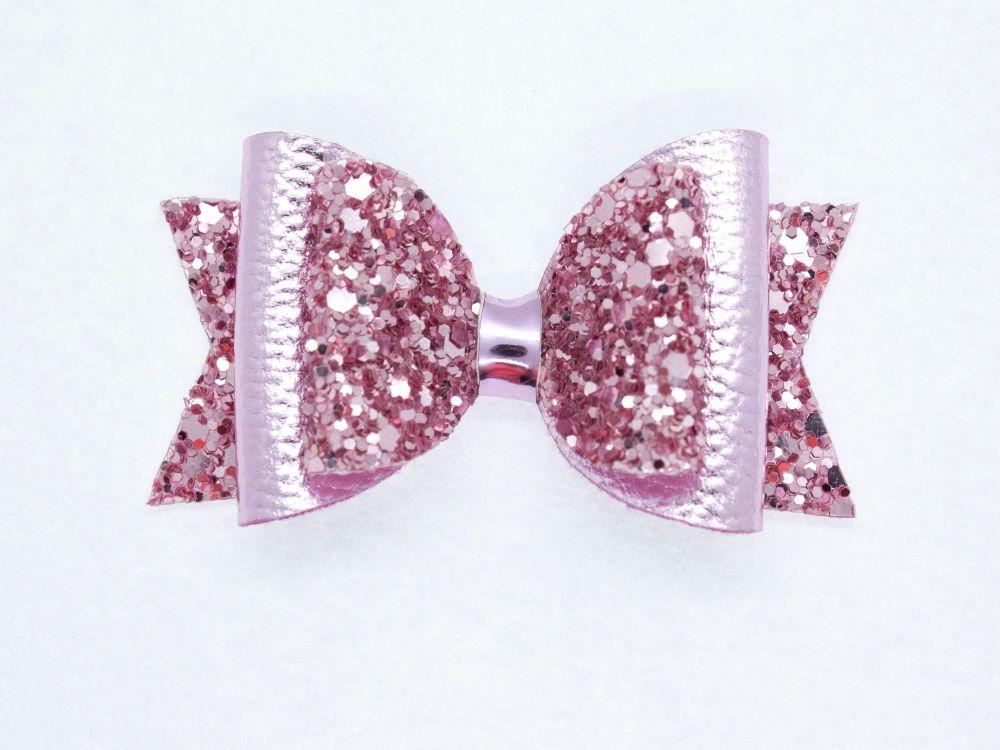 Gorgeous Rose Pink Metallic Sparkle Small Bow