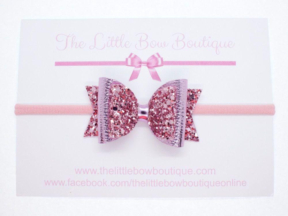 Gorgeous Rose Pink Metallic Sparkle Bow Headband