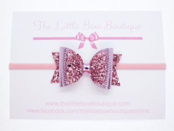 Gorgeous Rose Pink Metallic Sparkle Bow Headband