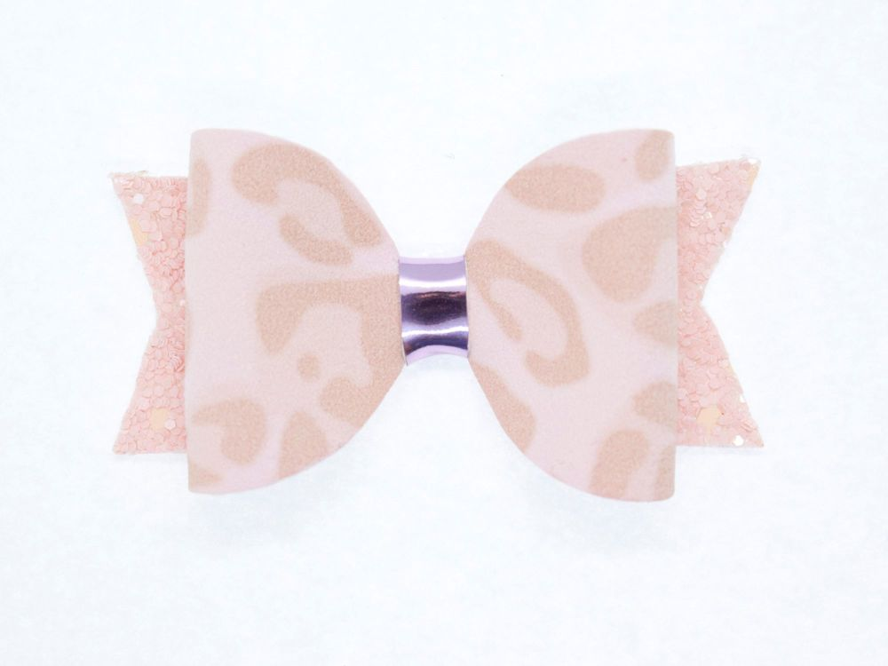 Leopard Print Pretty in Pink Small Bow