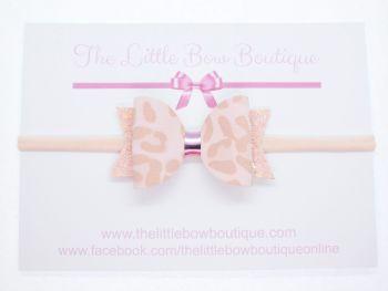 Leopard Print Pretty in Pink Bow Headband