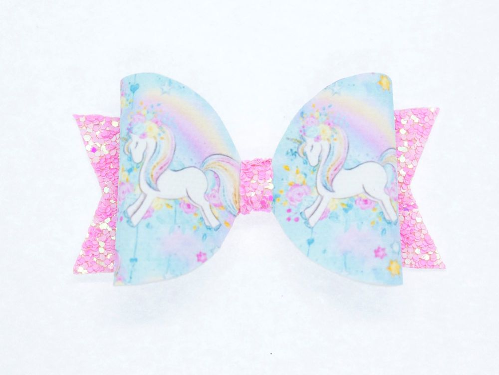 Love Hearts & Rainbow Unicorn Small Bow