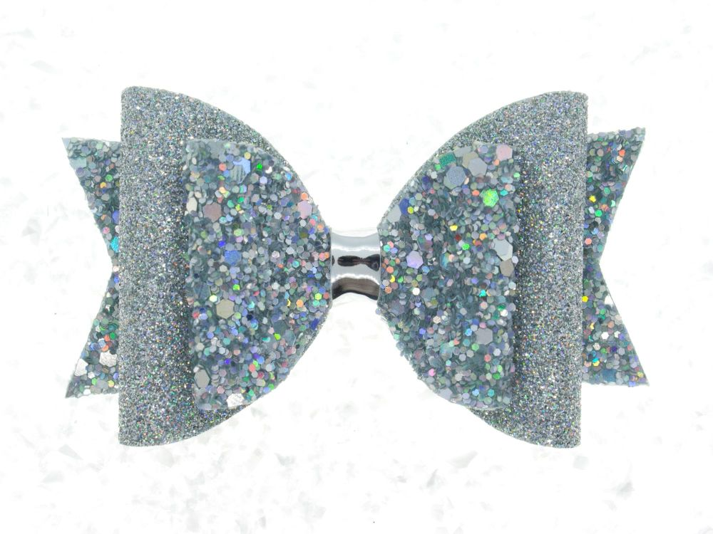 Holographic Super Sparkly Silver Bow