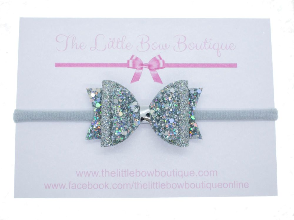 Holographic Sparkly Silver Bow Headband or Clip (price reduces for clip)