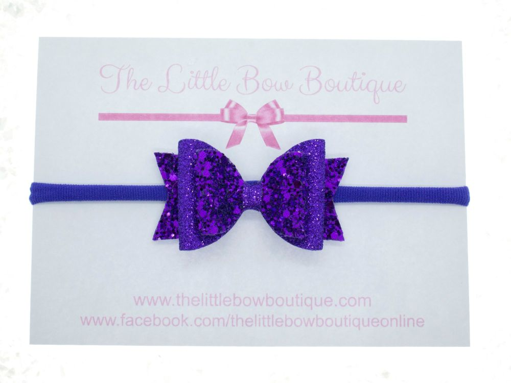 Purple Luxury Glitter Mix Bow Headband or Clip (price reduces for clip)