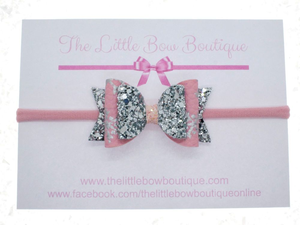 Pink & Silver Snow Flakes Bow Headband or Clip (price reduces for clip)