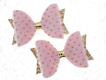 Faux Fur Golden Polka Dots Bow Pink
