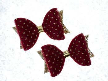 Faux Fur Golden Polka Dots Bow Red