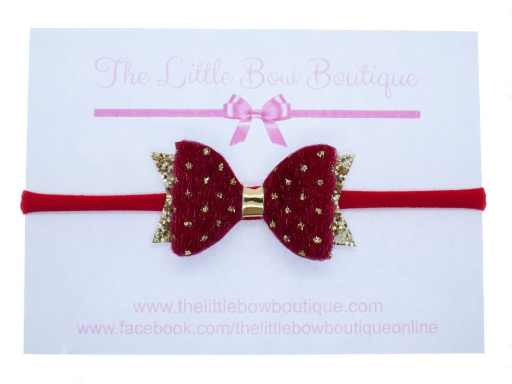 Faux Fur Golden Polka Dots Bow Red Headband or Clip (price reduces for clip