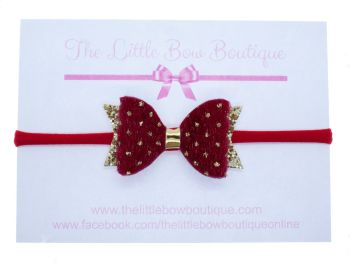 Faux Fur Golden Polka Dots Small Bow Red Headband or Clip (price reduces for clip)