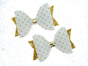 Faux Fur Golden Polka Dots Bow White