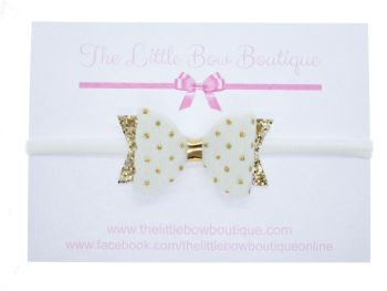 Faux Fur Golden Polka Dots Small Bow White Headband or Clip (price reduces for clip)