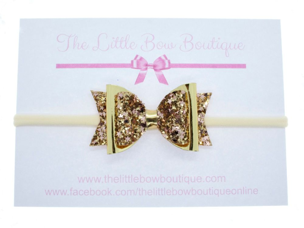 Golden Glimmer Bow Headband or Clip (price reduces for clip)