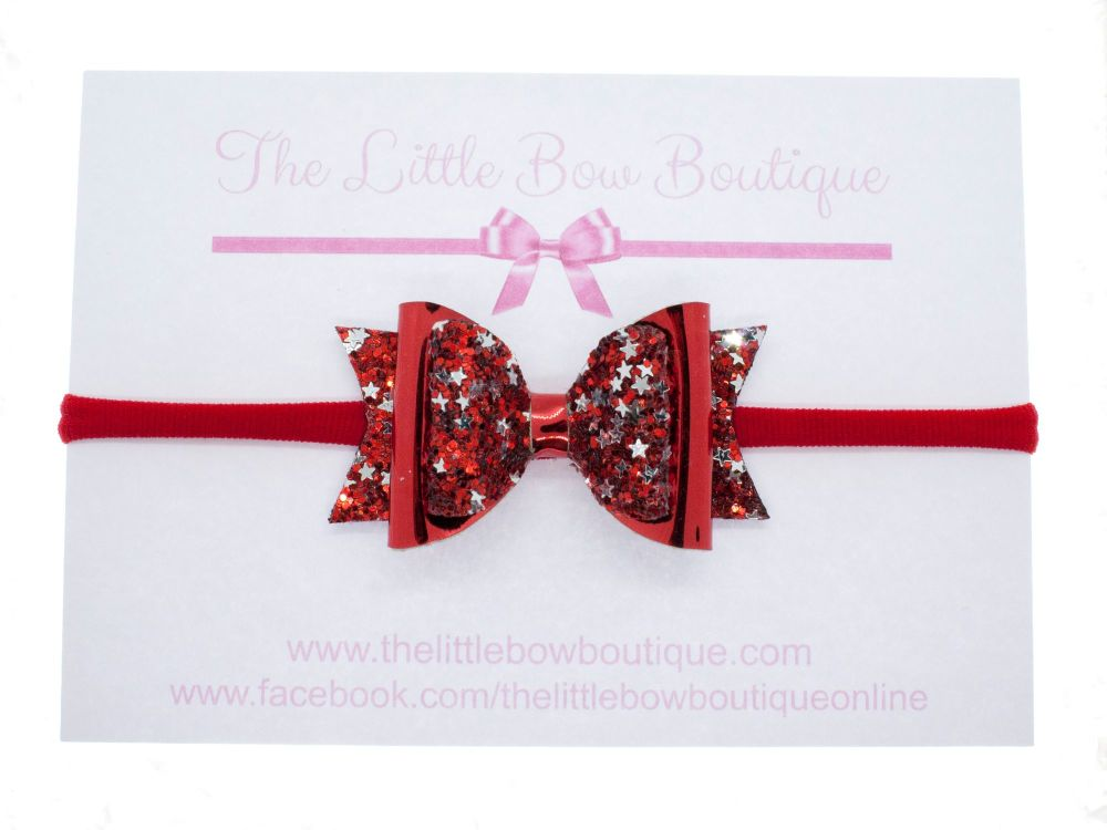 Gorgeous Glimmer Bow Red Headband or Clip (price reduces for clip)