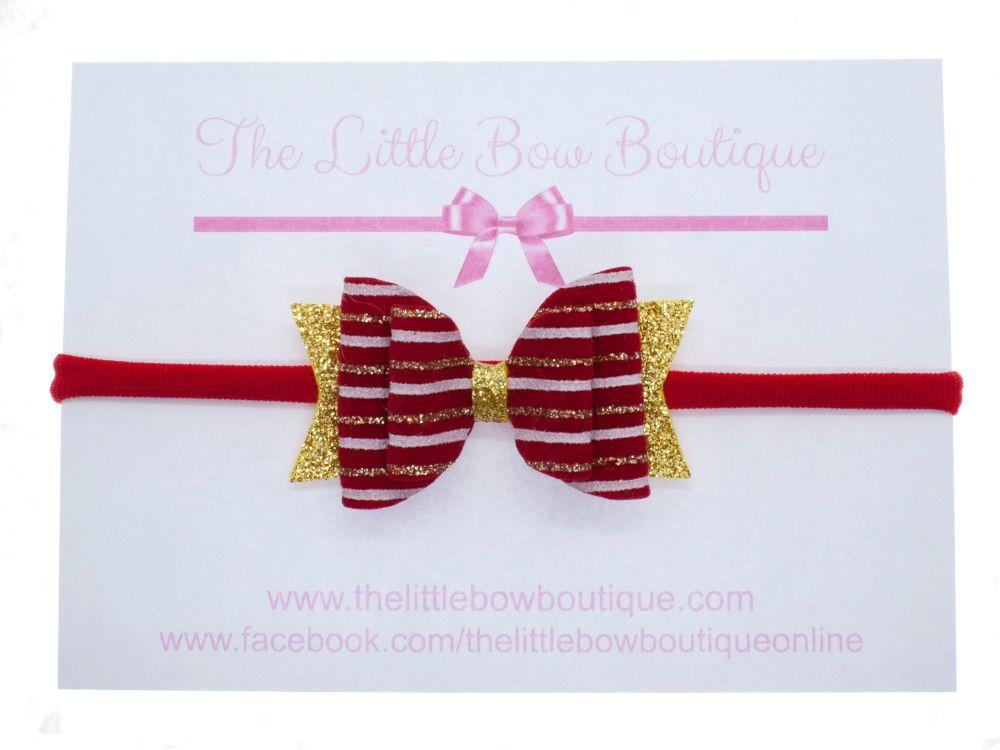 Christmas Velvet Stripe Bow Headband or Clip (price reduces for clip)