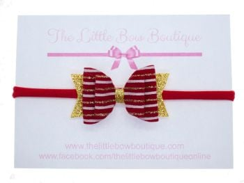 Christmas Velvet Stripe Small Bow Headband or Clip (price reduces for clip)