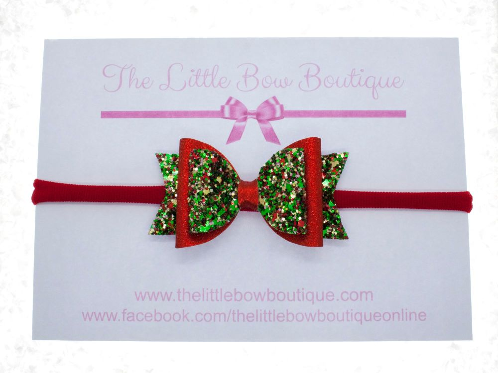 Christmas Cracker Glitter Small Bow Headband or Clip (price reduces for cli