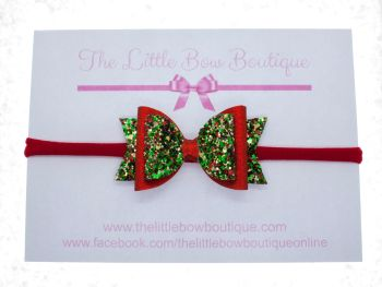 Christmas Cracker Glitter Small Bow Headband or Clip (price reduces for clip)