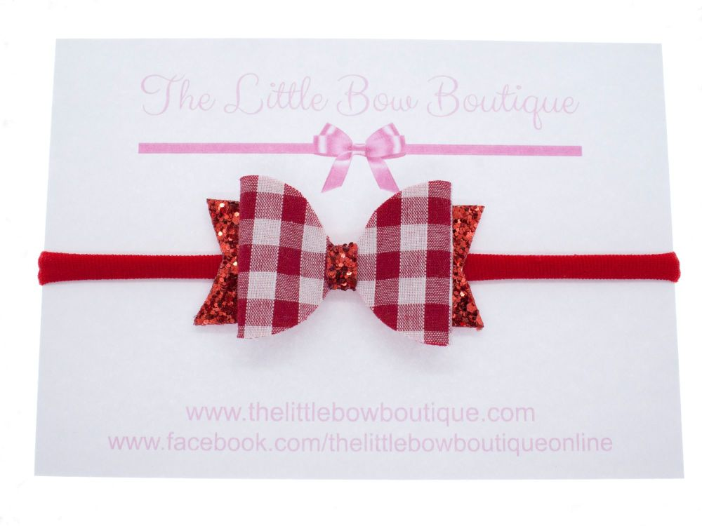 Red Gingham Christmas Small Bow Headband or Clip (price reduces for clip)