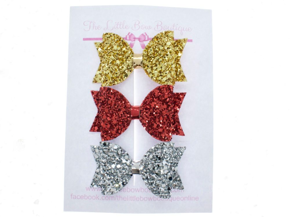 Trio of Small Glitter Bows – Traditional Christmas