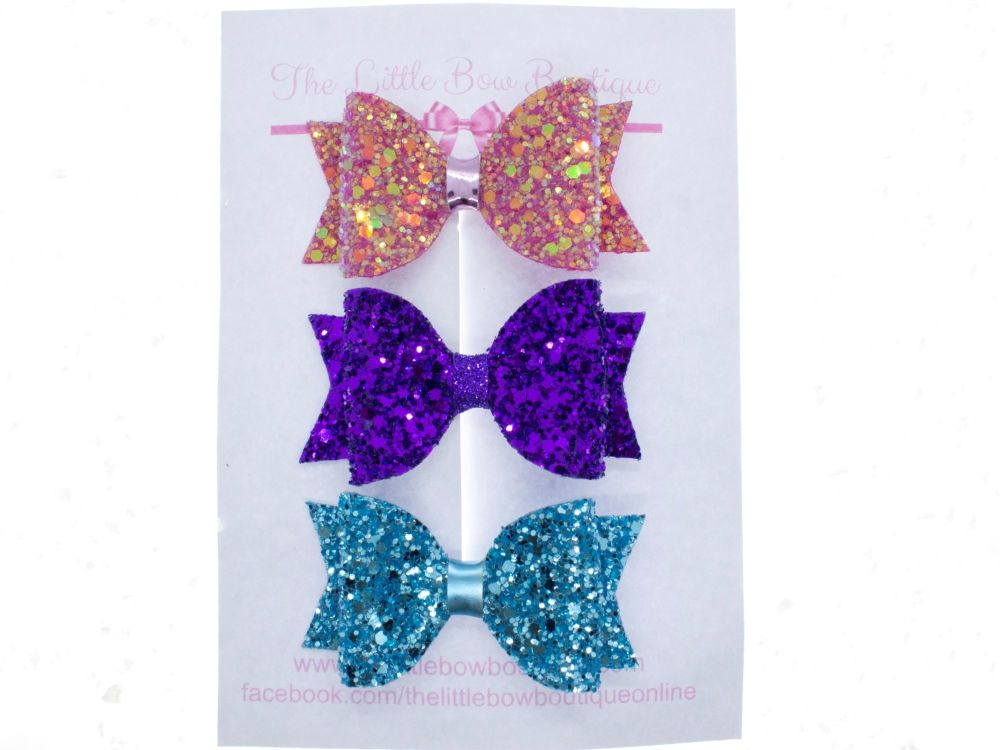 Trio of Small Glitter Bows – Modern Christmas
