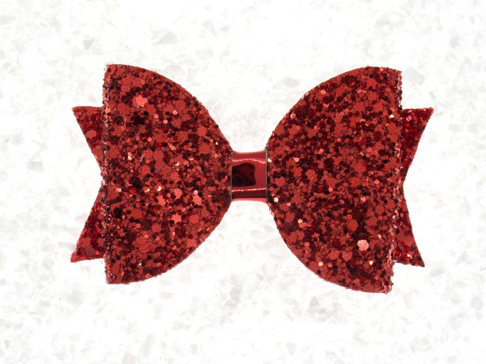 Single Layer Glitter Bow – Red