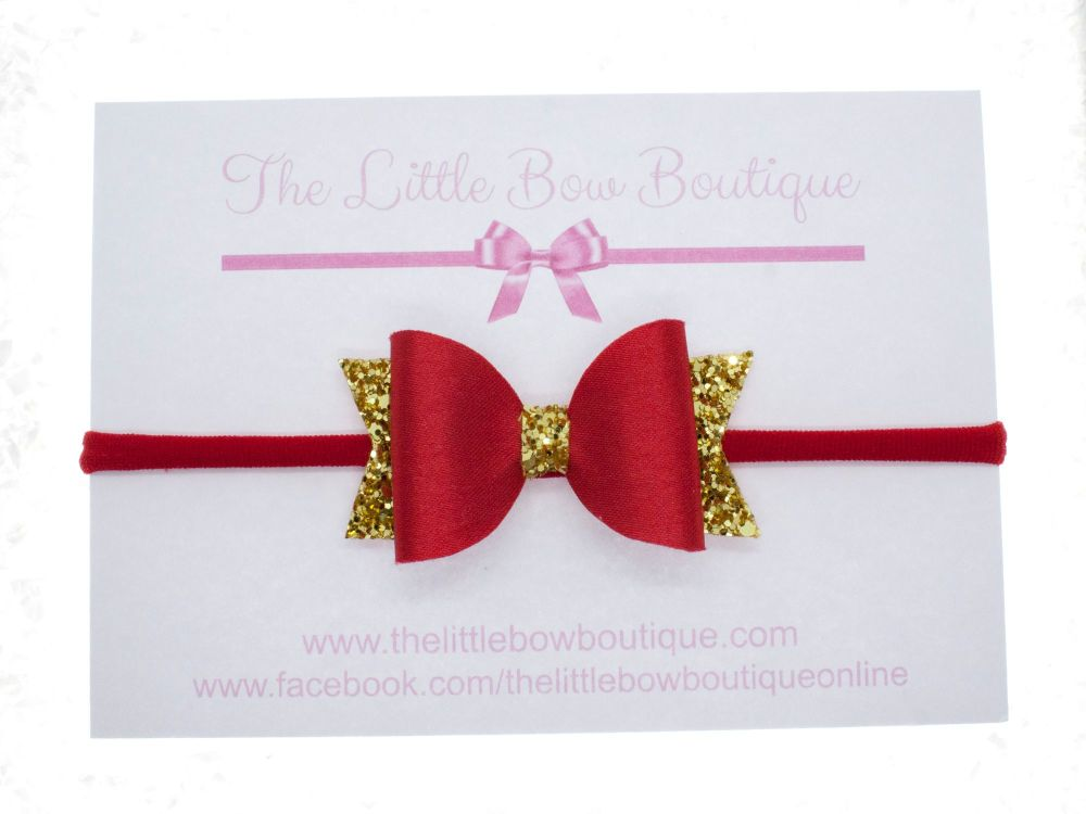 Red Satin & Gold Christmas Small Bow Headband or Clip (price reduces for cl