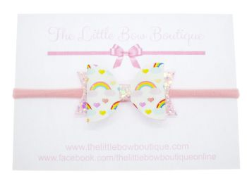 In Love with Rainbows  - Headband Small Bow