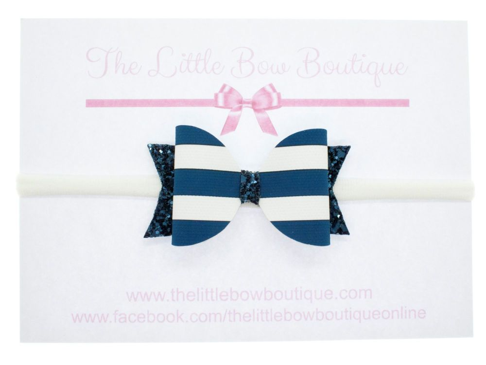 Nautical Navy - Headband Small Bow