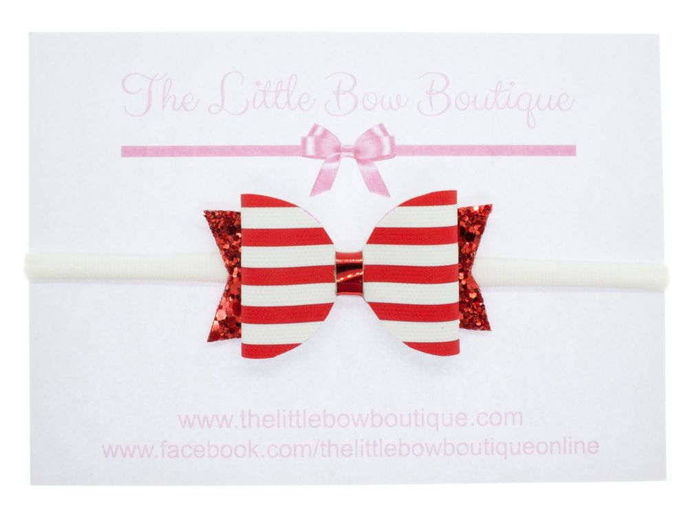 Nautical Red – Headband Small Bow