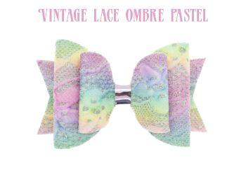 Glitter Lace – Vintage Lace Ombre Pastels Bow