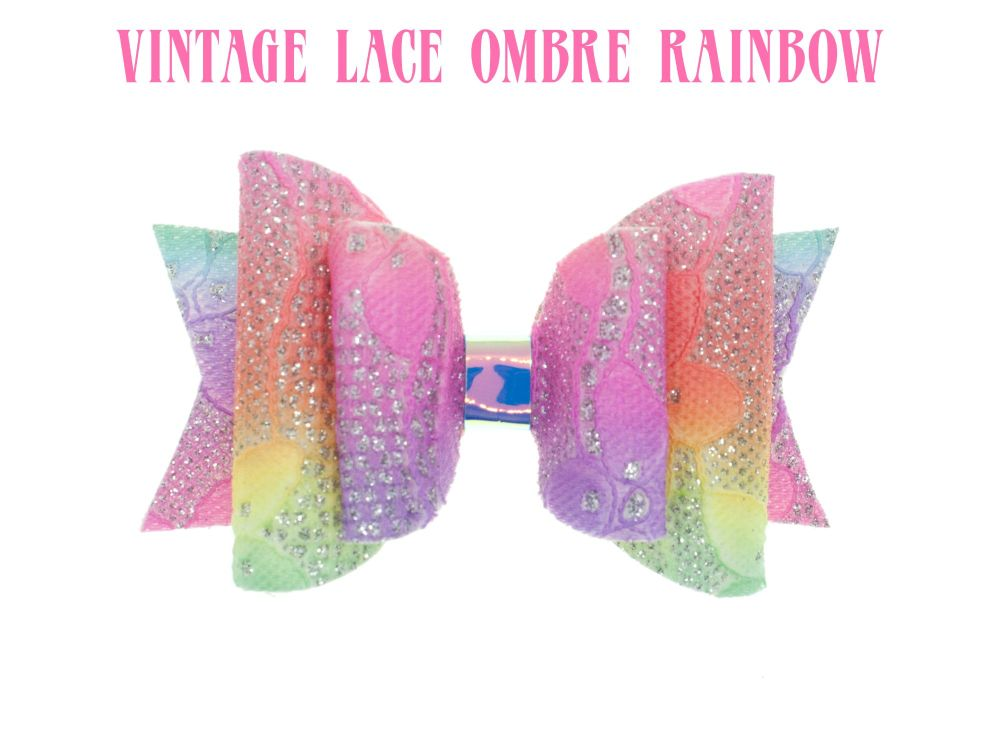 Glitter Lace – Vintage Lace Ombre Rainbow Bow