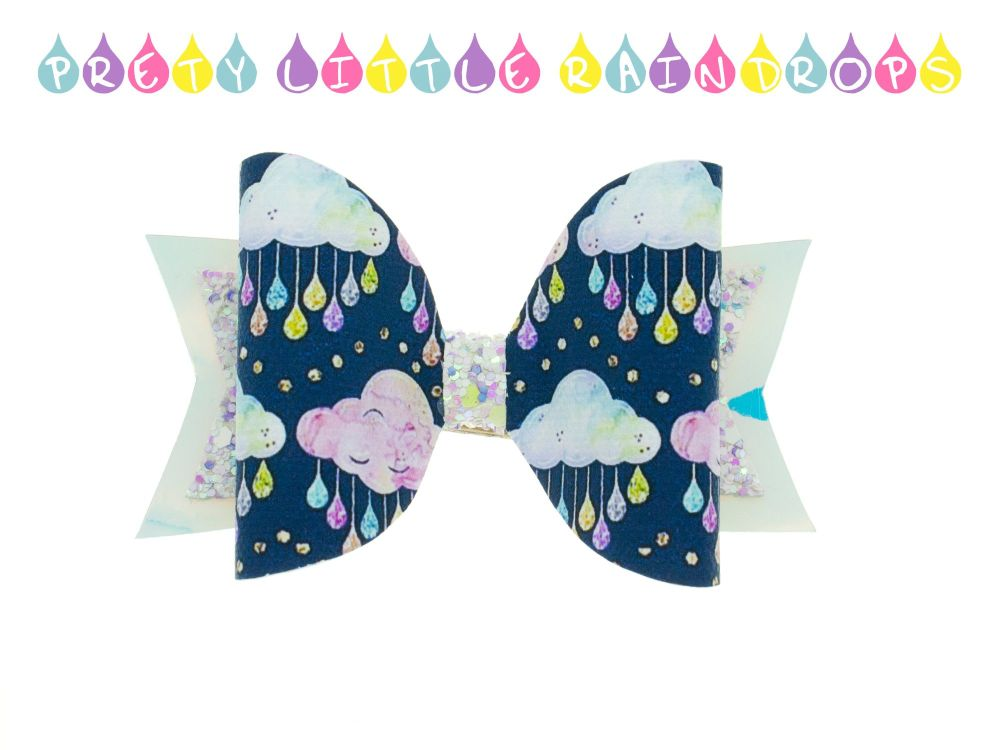 Pretty Little Raindrops – Standard Size Bow