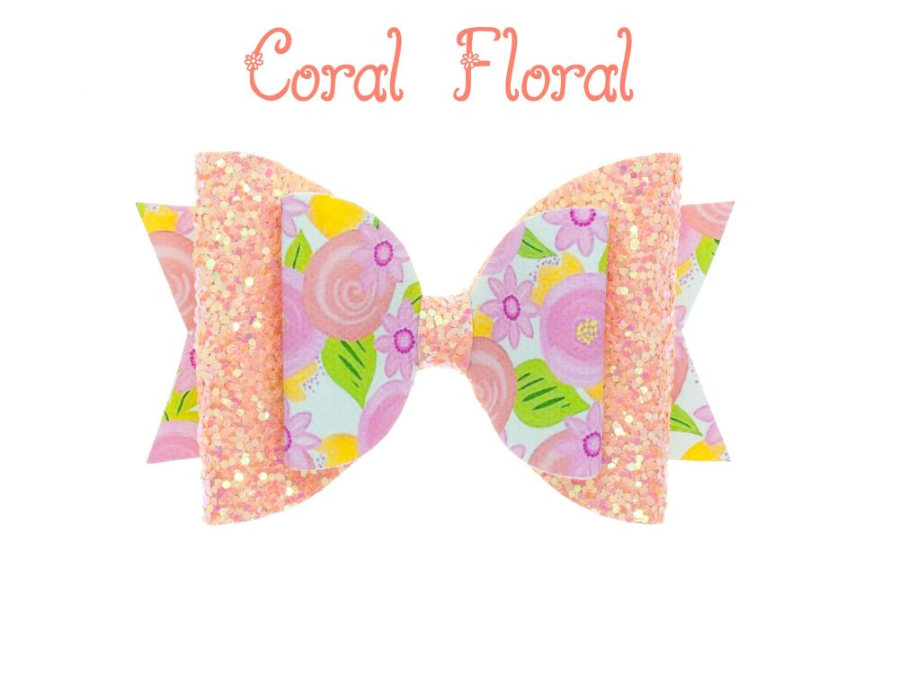 Coral Floral – Standard Size Bow
