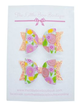 Coral Floral - Small Bows
