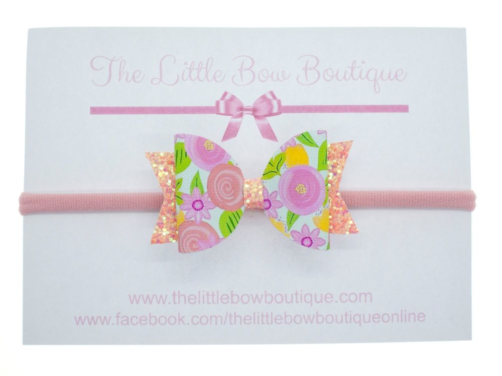 Coral Floral - Headband Small Bow
