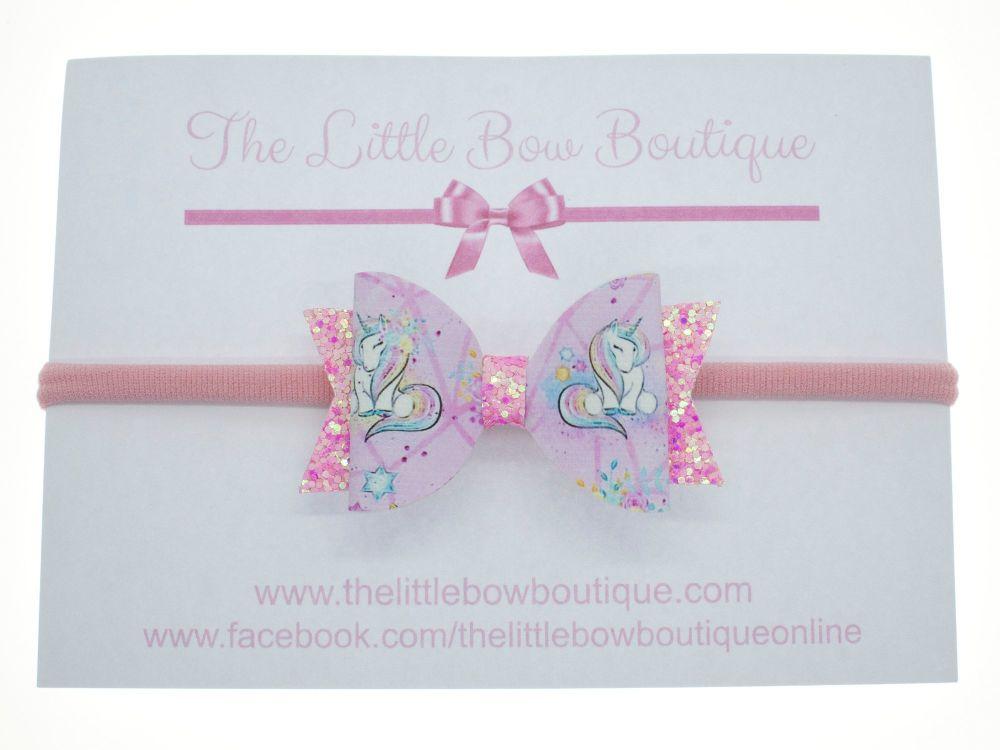 Pretty Little Unicorn - Headband Small Bow