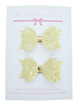 Glitter Bows Lemon Sparkles  – Small Bows