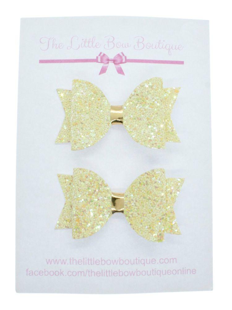 Glitter Bows Lemon Sparkles  – Small Bows