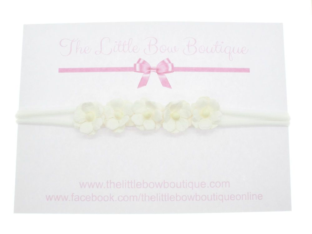 Pretty Sweetheart Blossoms Headband - White