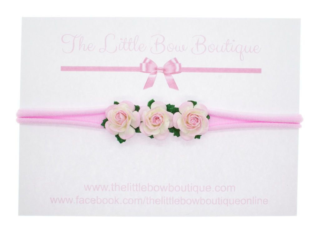 Adorable Little Flower Headband Two Tone Pink