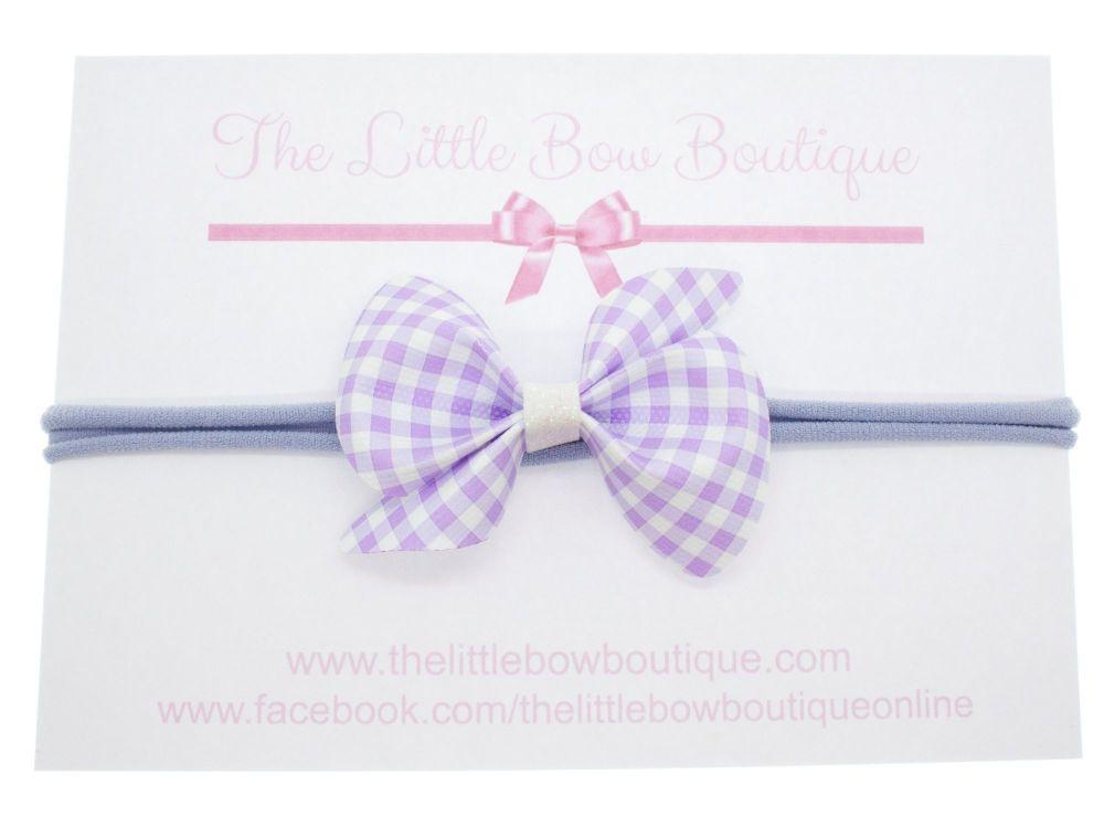 Gorgeous Ginghams Scrunchi Bow - Lilac