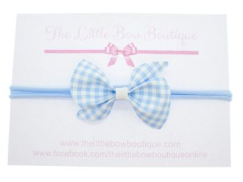 Gorgeous Ginghams Scrunchi Bow - Blue