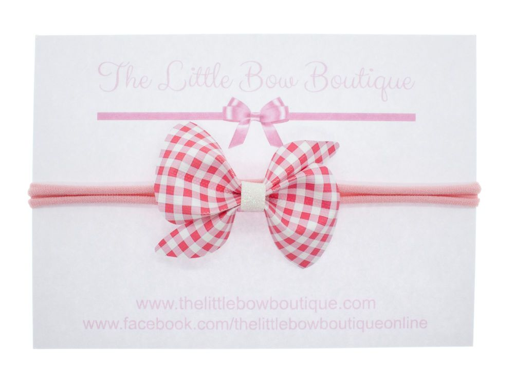 Gorgeous Ginghams Scrunchi Bow - Pink